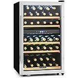Klarstein Vinamour 40D Weinkühlschrank Getränkekühlschrank Kühlschrank (2 Kühlzonen, 135 Liter Volumen, bis zu 41 Flaschen, LCD-Anzeige, Touch-Bediensektion, Edelstahlfront) silber