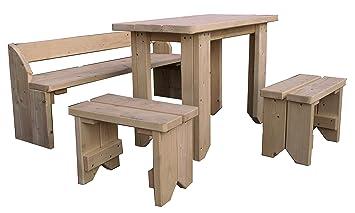Gartenpirat Ensemble de Jardin pour Enfants Table, bancs et tabourets en  Bois Massif de