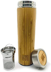 Dr. Zisman ZT - Double-Walled Stainless-Steel Bottle - Keep Hot and Cold Beverages Inside, Leak-Free and Comfortable Handling - Vacuum Insulated Thermos Tumbler - Travel Water, Tea Container (Bamboo)