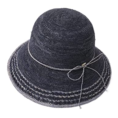 dd8cc4db Image Unavailable. Image not available for. Color: Raffia Straw Sun Hat  Fedora for Women Summer Beach Accessories Wide ...