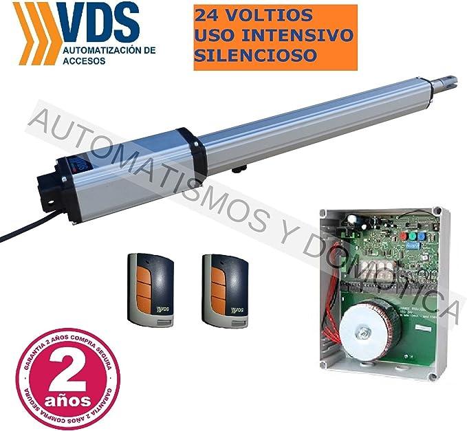 Kit profesional motor puerta batiente VDS Linear 24v. uso intensivo, silencioso, cancelas hasta 2,50 metros y 200 kg de peso, central con receptor y 2 mandos a distancia de codigo evolutivo: Amazon.es: