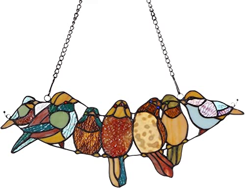 Bieye W10016 19 inches Tropical Birds Tiffany Style Stained Glass Window Panel with Chain, 7 Parrots