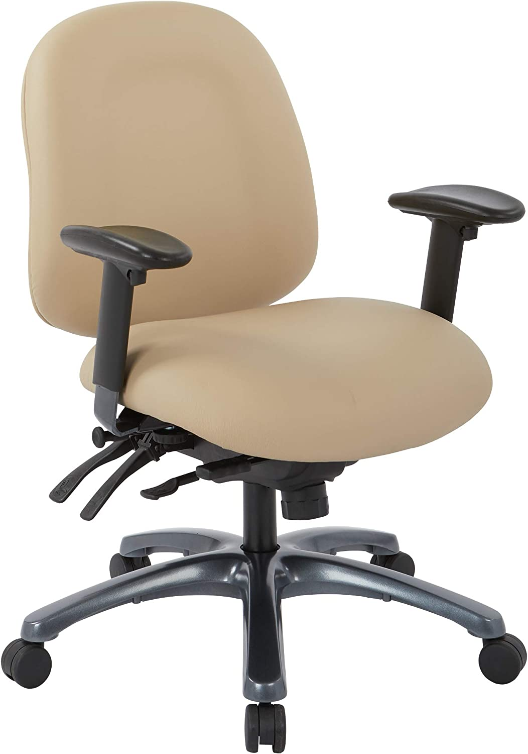 Office Star 8500 Series Multi-Function Mid Back Executive Ergonomic Office Chair with Seat Slider and Titanium Finish Base, Dillon Buff Fabric