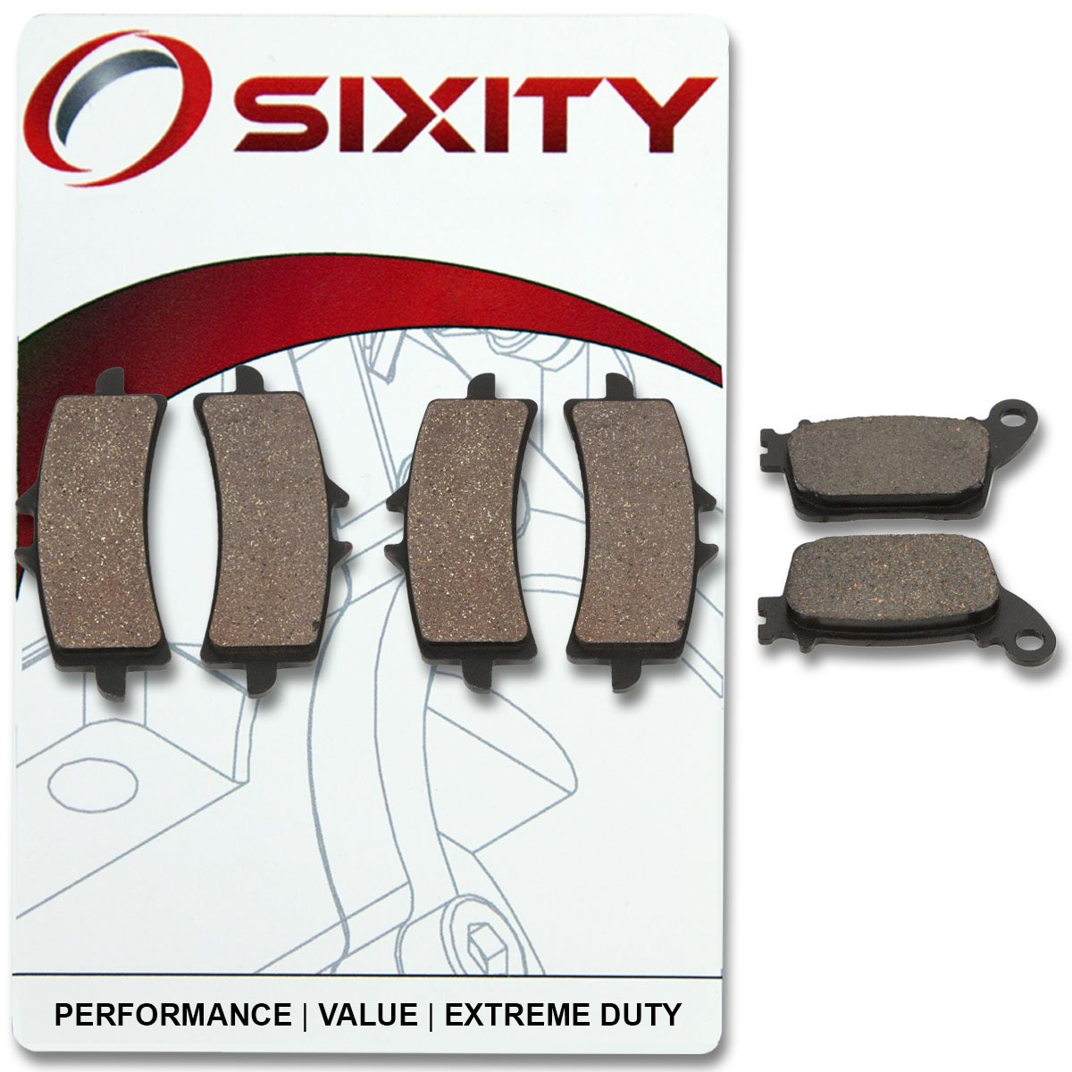 Sixity Front Rear Organic Brake Pads 2003-2007 for Suzuki LT-F500F Vinson 500 4x4 Set Full Kit