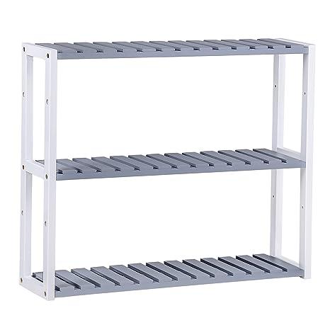 Amazon.com: SONGMICS 100% Bamboo 3-Tier Utility Storage Shelf Rack ...