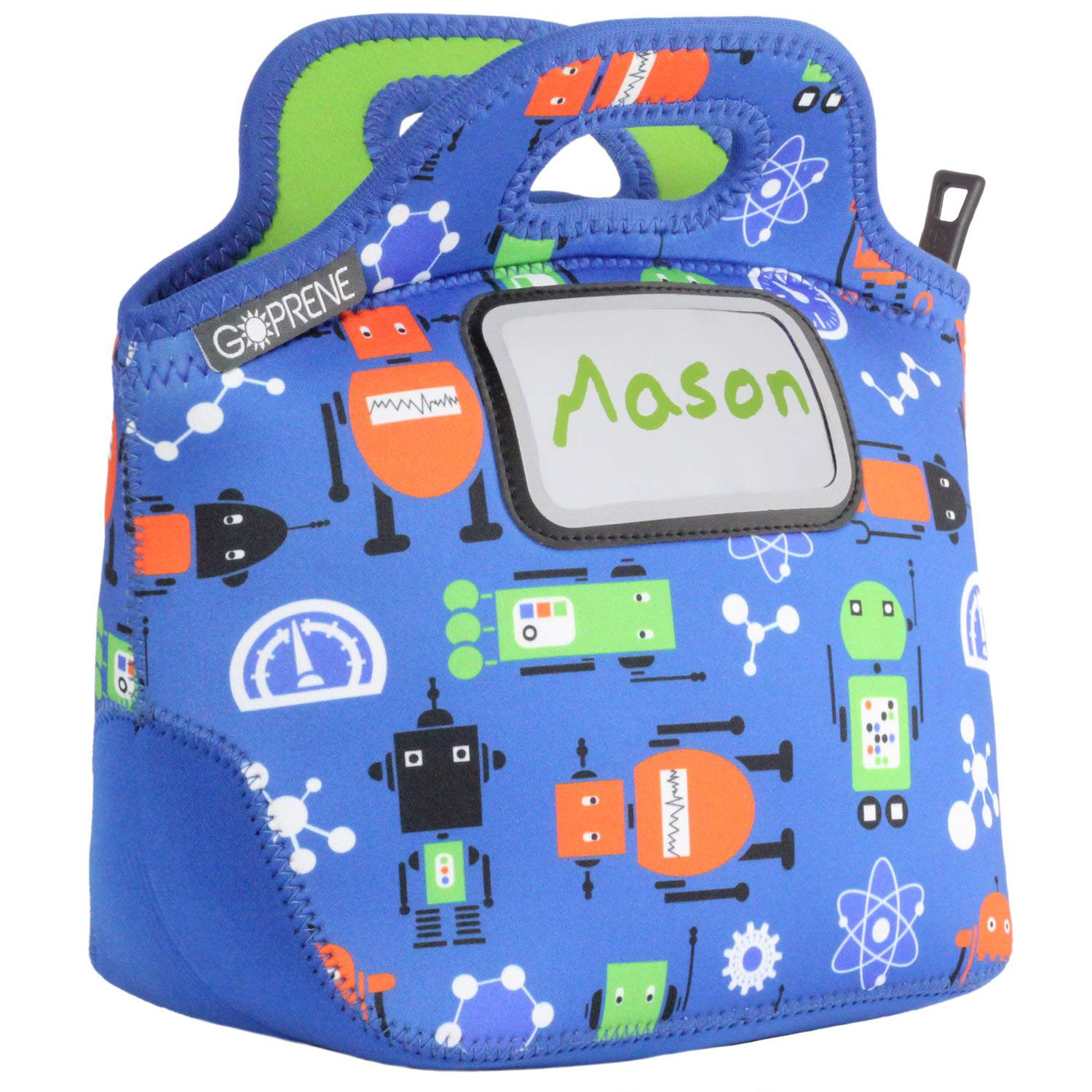 eb7e9d6acde3 Kids Robots Neoprene Lunch Bag with ID Card Pocket | Identi-Tote by GOPRENE  | Insulated, Reusable, Foldable, Washable, Color: ROBOT BLUE, 3 Blank Name  ...