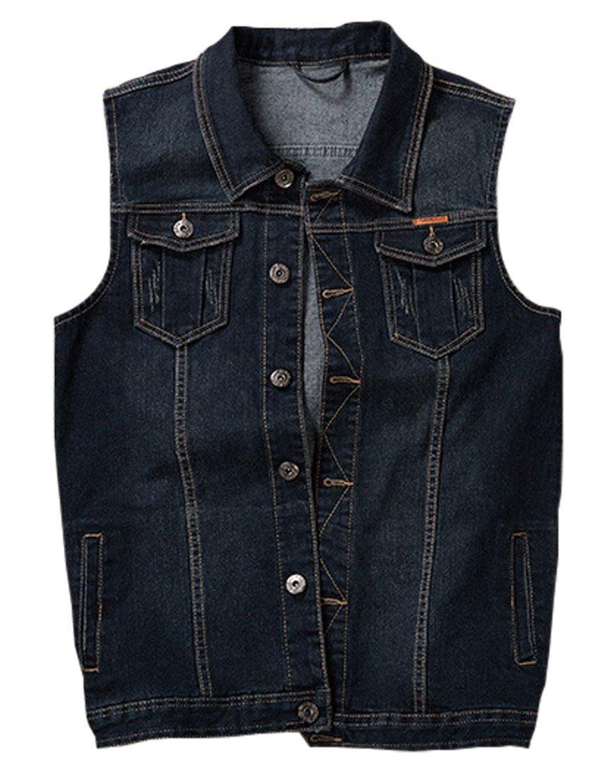 Jenkoon Men's Casual Sleeveless Lapel Jean Denim Vest Jacket (Dark Blue, Large)