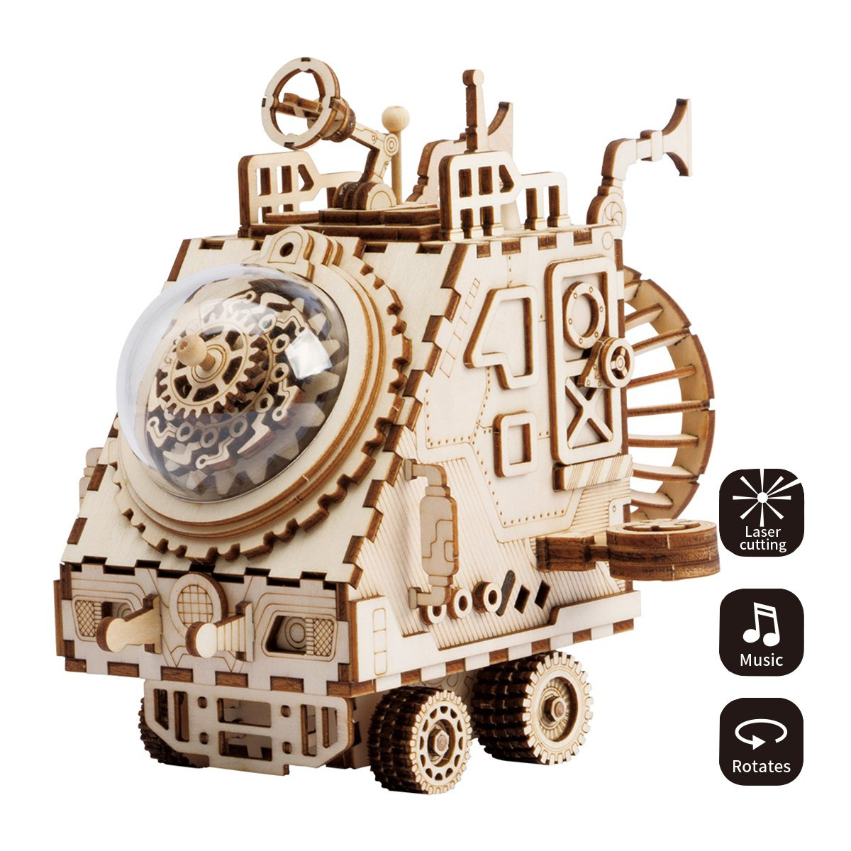 ROBOTIME 3D Laser Cut Wooden Puzzle Music Box Kit DIY Robot Toy RoboBunny Craft Kit Best Birthday Gifts for Men & Women