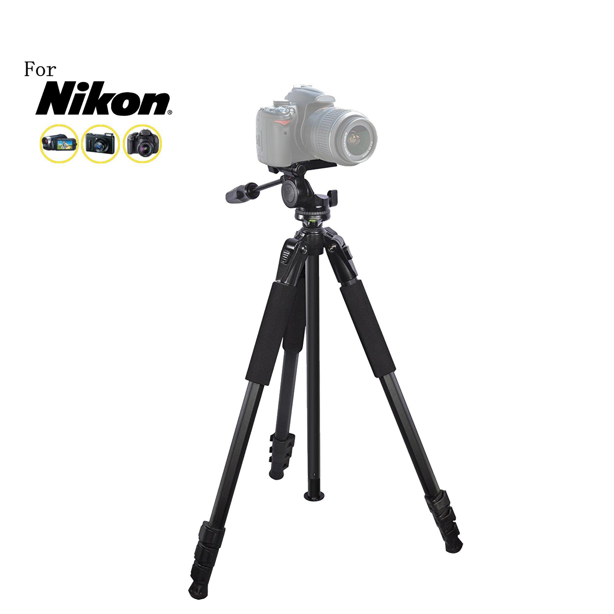 80 inch Heavy Duty Portable tripod for Nikon Df, D1H, D1X, D200, D2H, D2Hs, D2X, D2Xs, D3, D300, D300S, DL18-50, DL24-500, DL24-85 Cameras: Travel tripod by iSnapPhoto