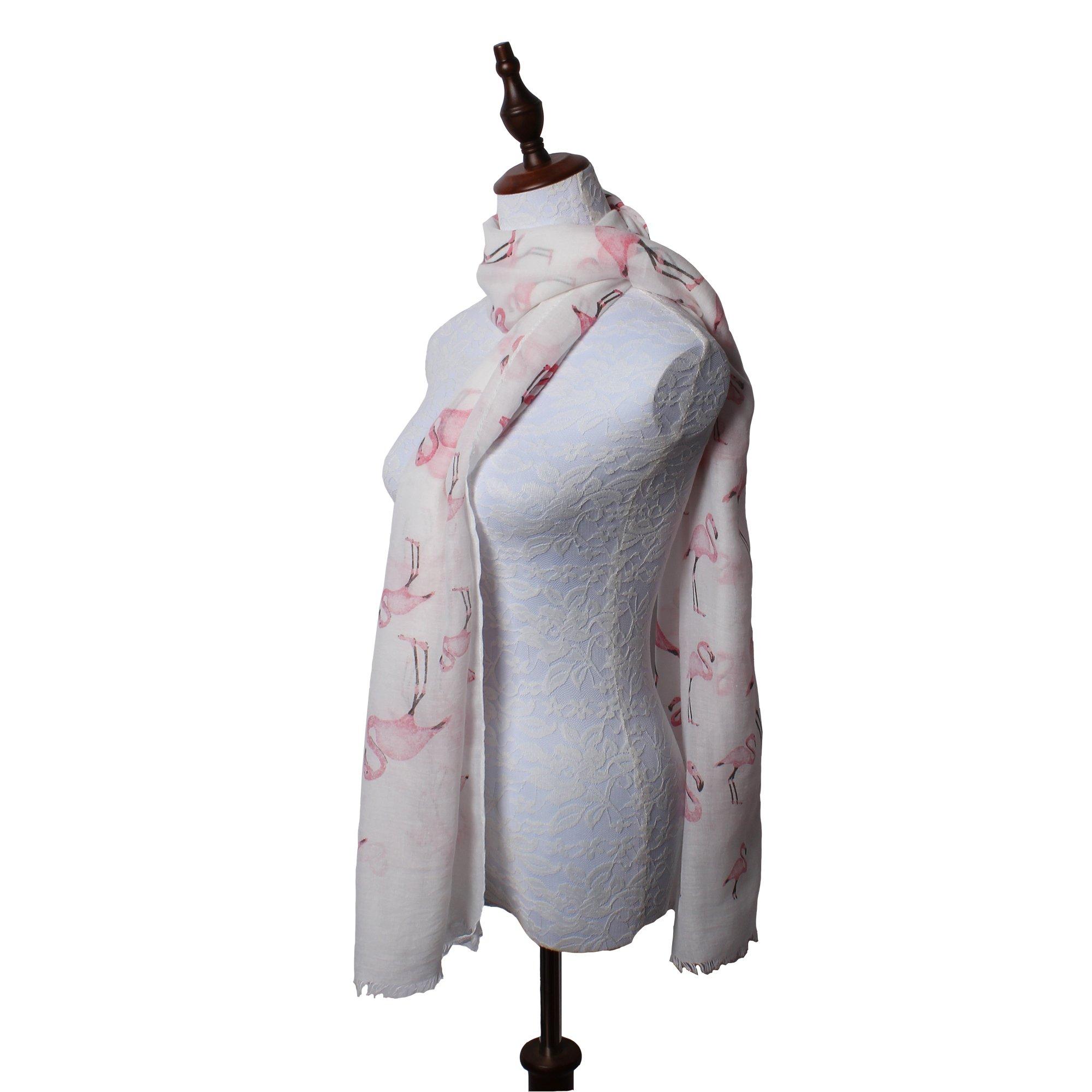 daguanjing 【Colorful Spring Inspired】 Women's Lightweight Fashion Scarf, Floral and Modern Print Sheer Shawl Wrap Flamingo by daguanjing (Image #3)