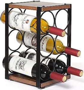 JS NOVA JUNS Wine Rack, Countertop Wine Holder for 6 Bottle Wine, Perfect for Home Décor Bar Wine Cellar Basement Cabinet Pantry