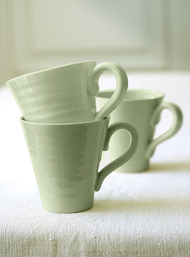 VGC of Portmeirion Sophie Conran Beige Faun Ridged Textured Mug 2x Pair