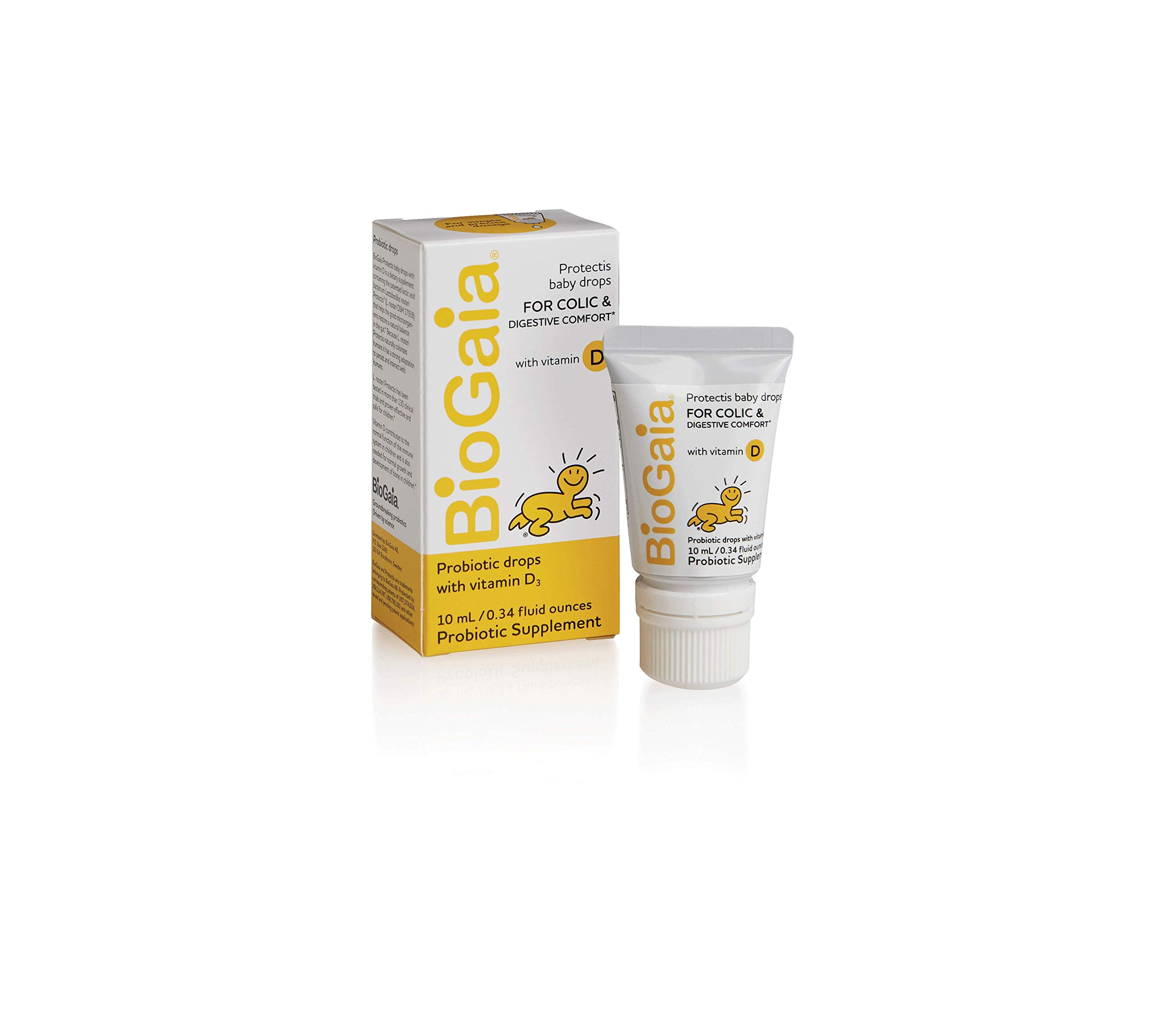 BioGaia Probiotics Drops With Vitamin D for Baby, Infants, Newborn and Kids Colic, Spit-Up, Constipation and Digestive Comfort, #1 Pediatrician Recommended Probiotic for Colic,10 ML by BioGaia