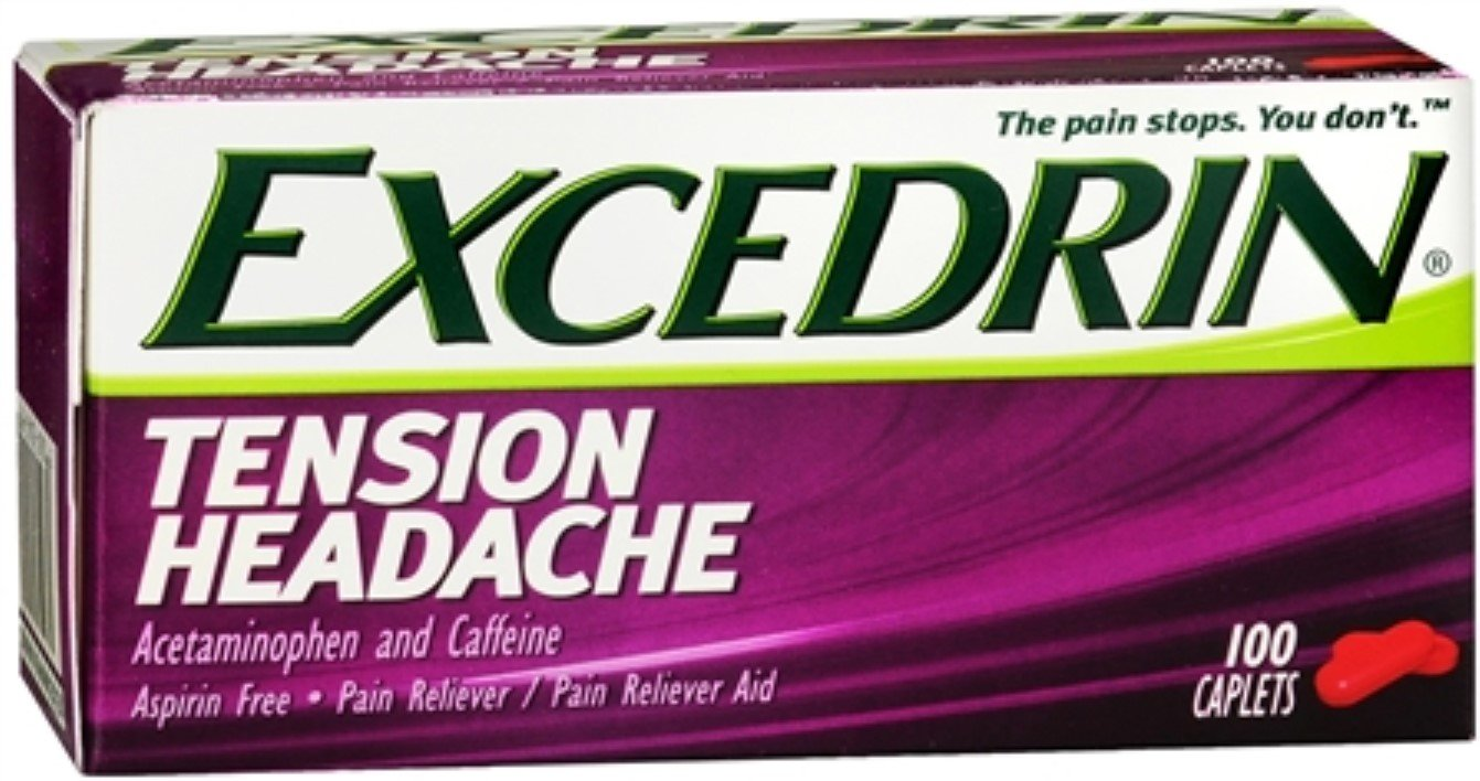 Excedrin Tension Headache Caplets 100 Caplets (Pack of 12)