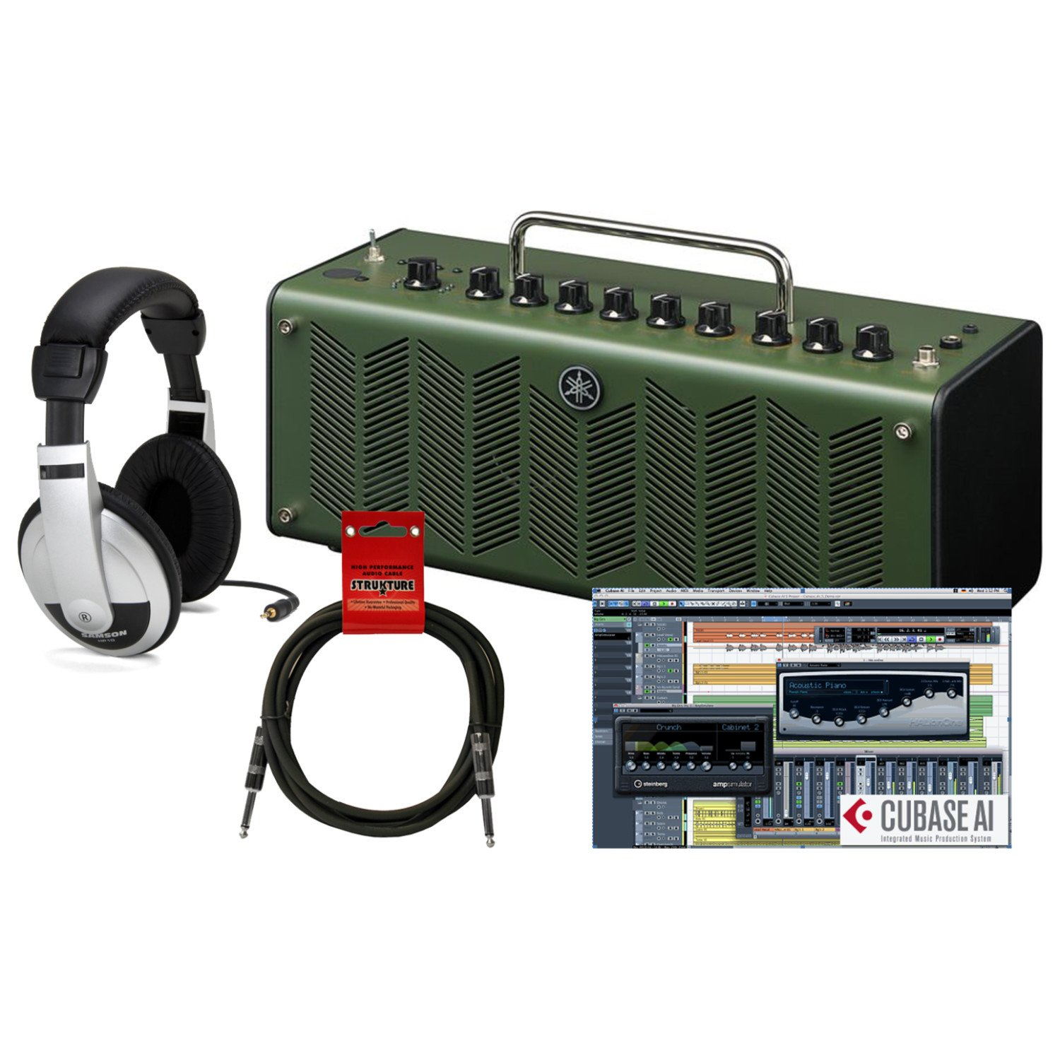 Yamaha THR10X Hi Gain Modeling Desktop Amplifier in Camouflage Green with Open-Ear Headphones and Instrument Cable by Yamaha