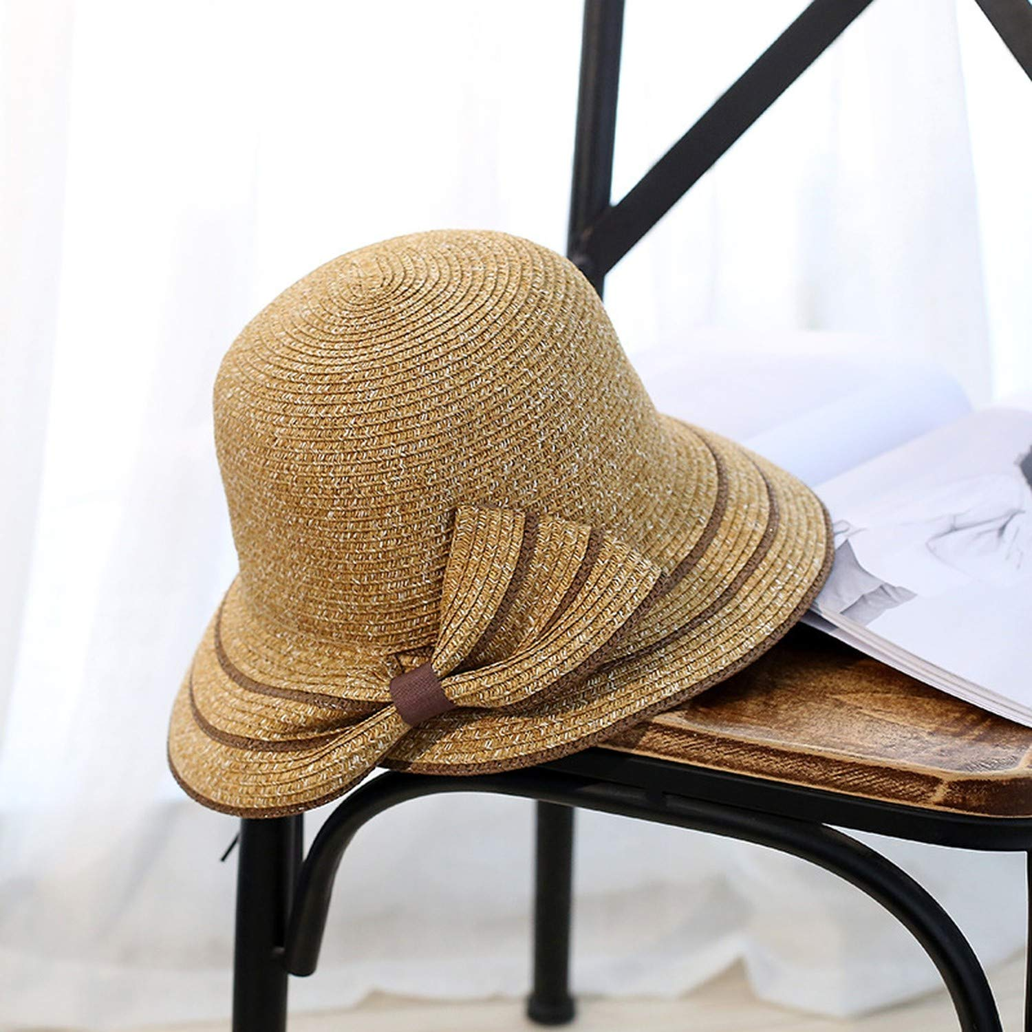 New Fashionable Sun Hat Woman Summer Bow Grass Hat Beach Headdress Hat 4Colors