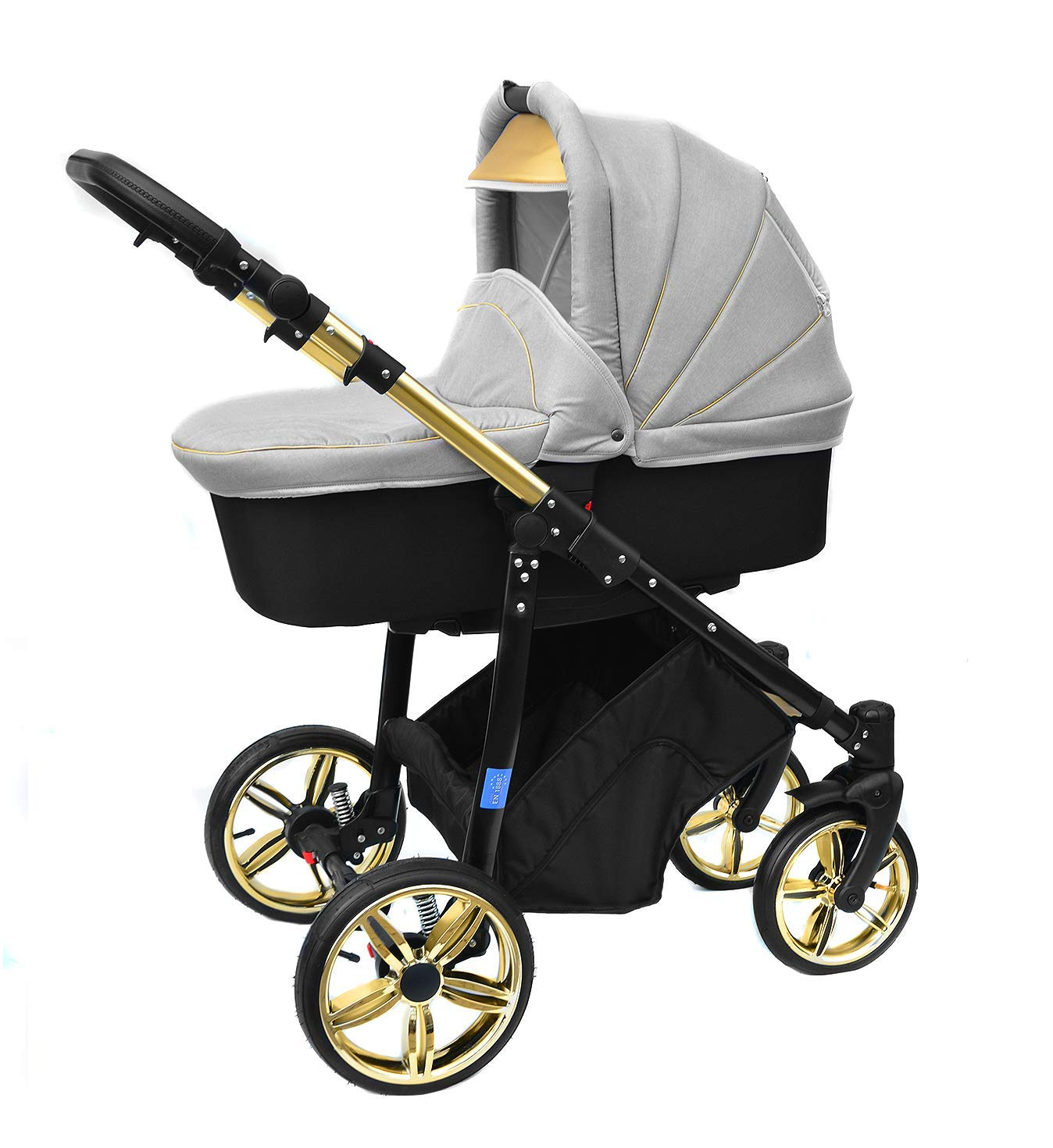ISOFIX Skyline 3in1 Kombi Kinderwagen mit einem Aluminium Gestell Sport Buggyaufsatz und Babyschale Beige Babywanne