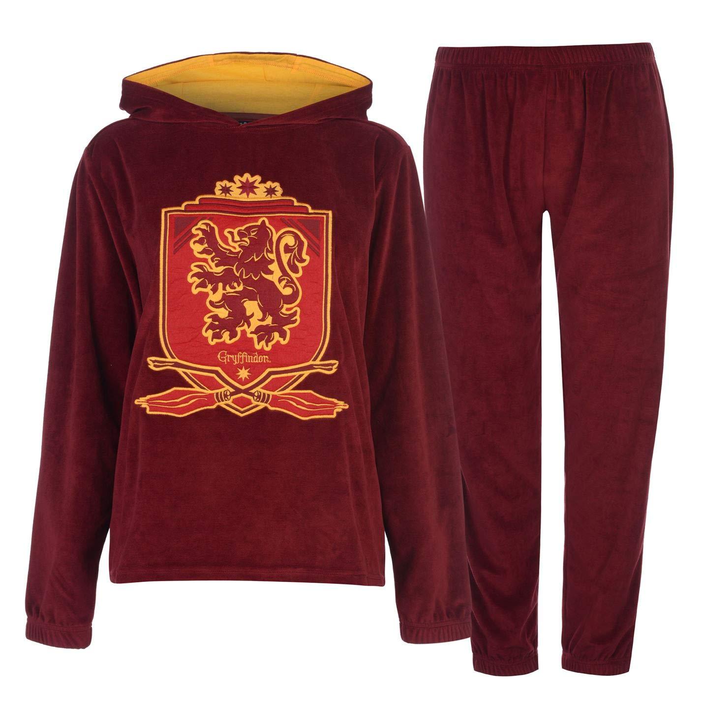Set pigiama da donna con cappuccio e parte inferiore con stemma Grifondoro pigiama del film di Harry Potter Scarlatto//oro 40 FR//M Harry Potter Gryffindor