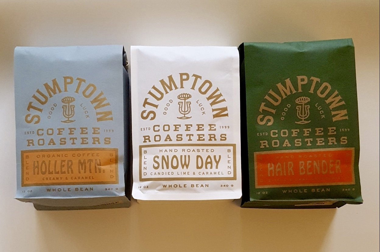Stumptown Coffee Roasters Whole Beans, HOLLER MTN. Organic, SNOW DAY & Hair Bender, Winter Trio, Direct Trade12oz EACH Bag ~Fresh Roasted in Los Angeles California by Stumptown Coffee