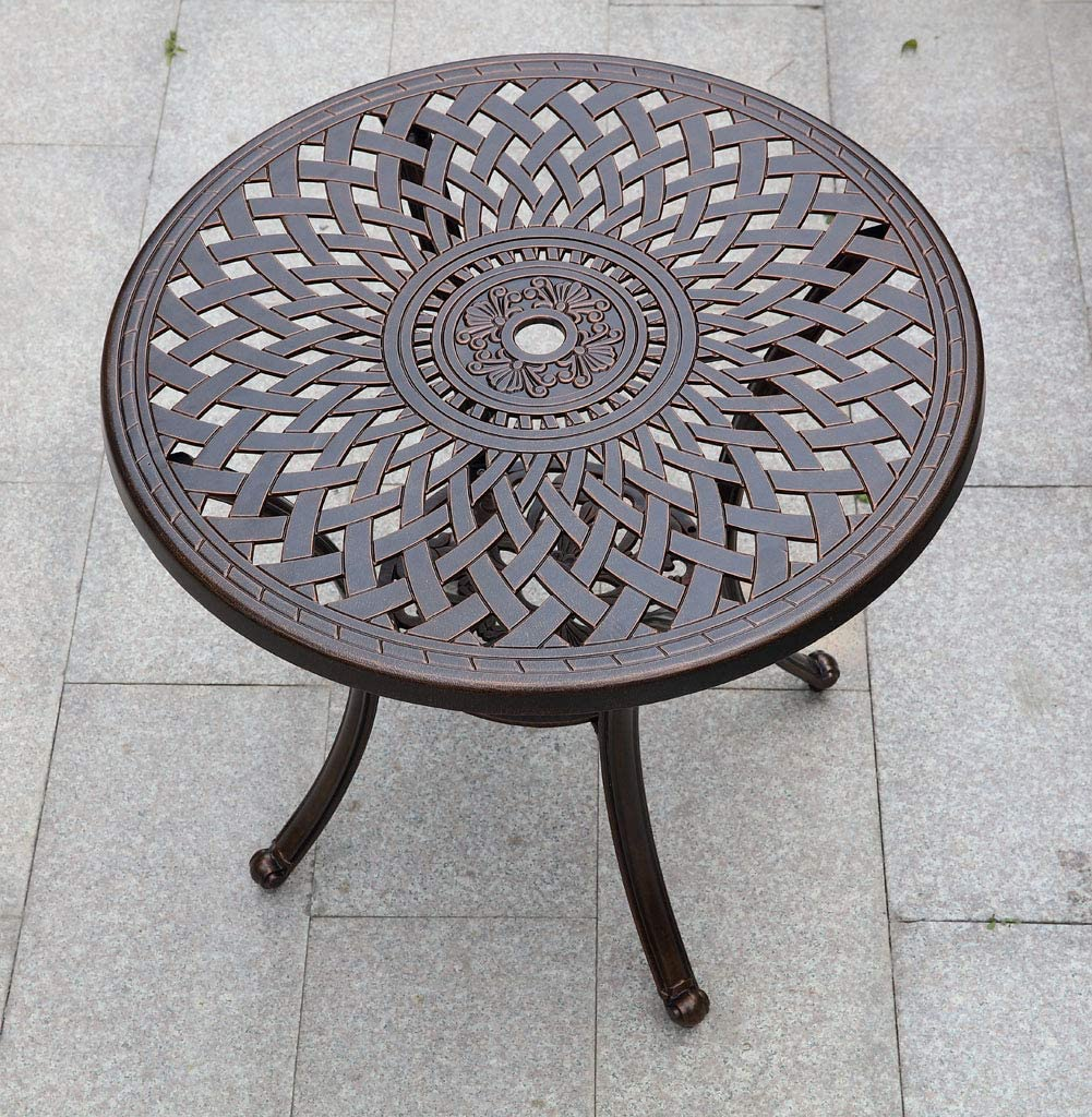 Patio Cast Aluminum Round Dining Table for Outdoor with Umberlla Hold