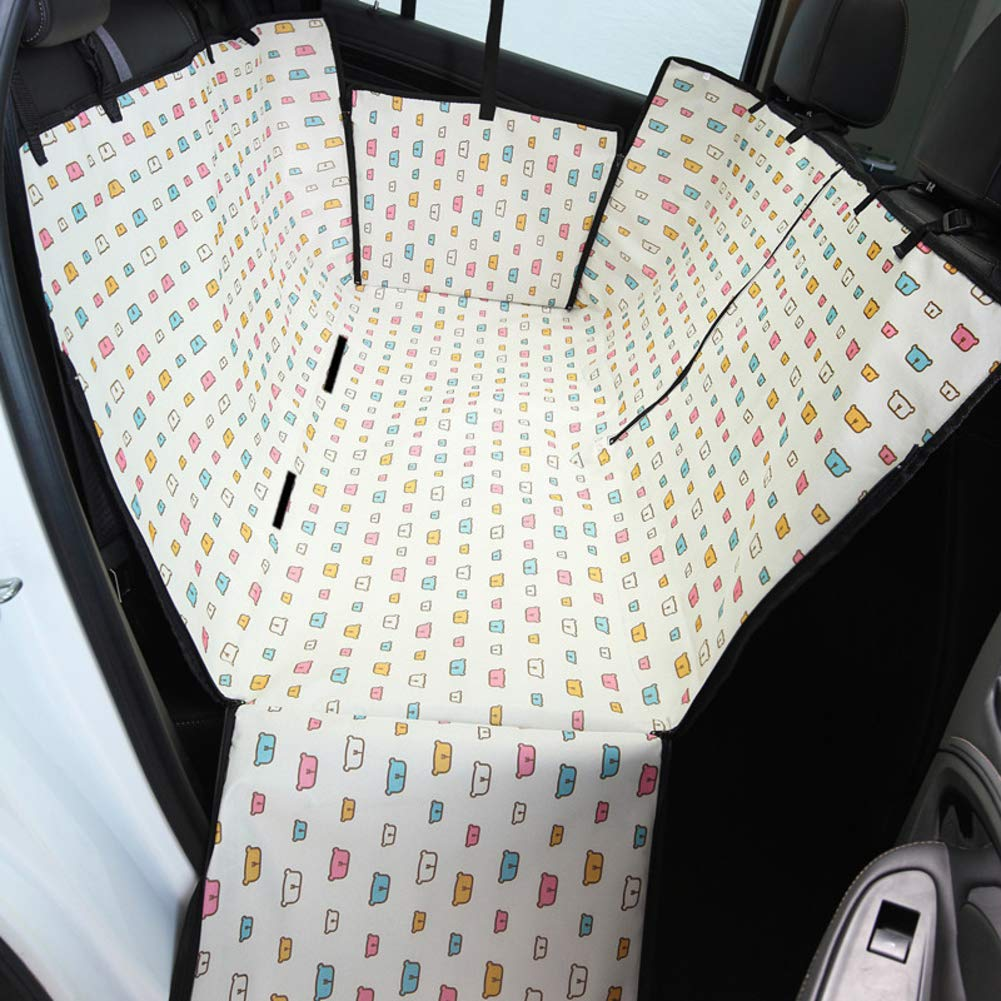 A Waterproof Hammock Pet seat Covers Anti-Dirty Padded Dog car seat Cover Scratch Proof Pet Back seat Covers with Zipper and Pocket Car seat pet Predector-A