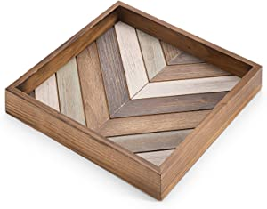 MyGift Multicolored Wood Square Chevron Design Decorative Serving Tray, Ottoman Coffee Table Accent Tray