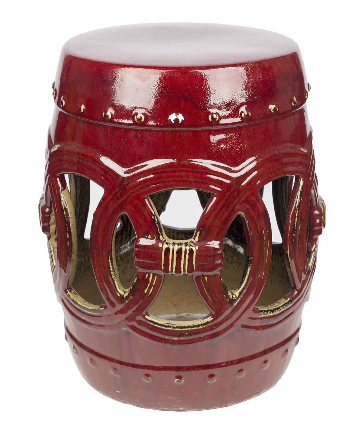 Abbyson Ellie Ceramic Garden Stool, Red