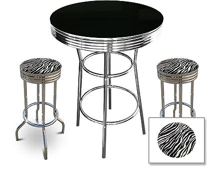 2 Zebra Print Barstools And Black Dining Table Set