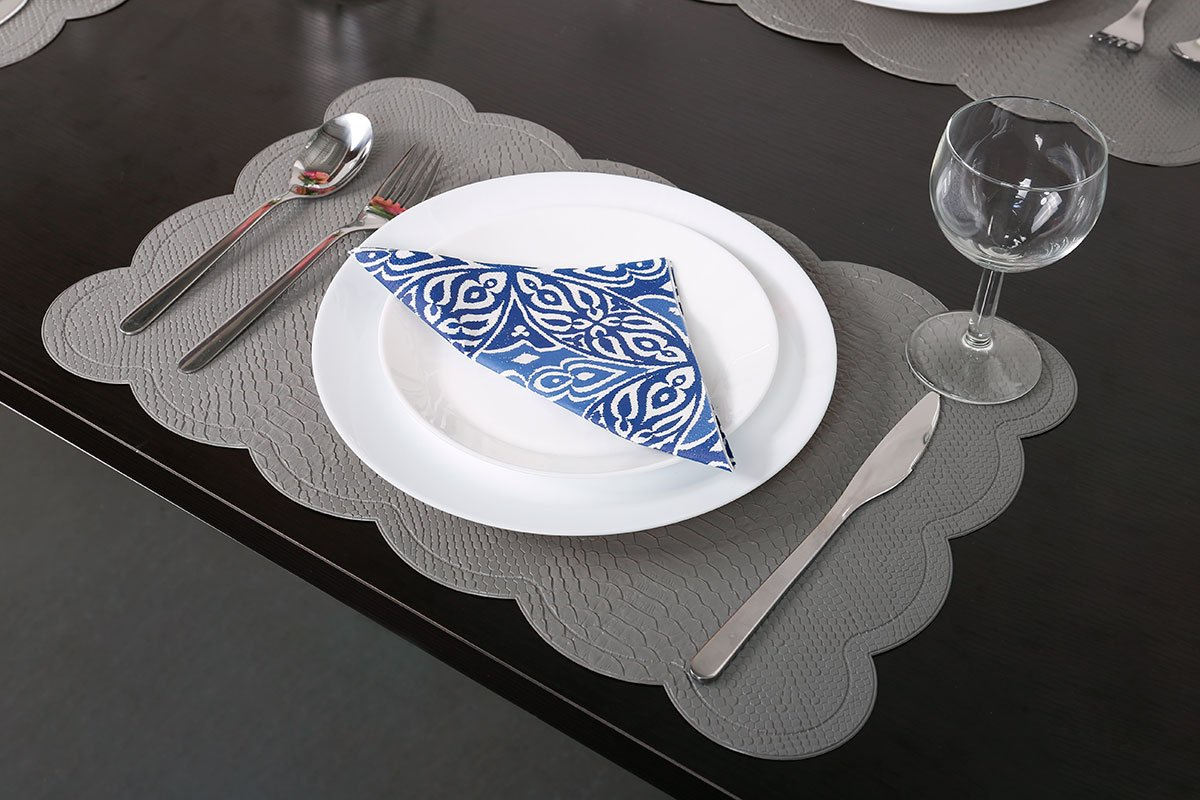 SICOHOME Leather Placemats,Grey Plastic Placemats Home,Set of 6 by SICOHOME (Image #4)