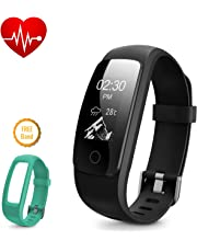 Fitness Tracker Heart Rate, DBPOWER IP69 Waterproof Smart Bracelet With Activity Tracker Watch with Calorie Counter Pedometer + Watch Replacement Band for Android and IOS
