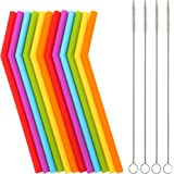 "Reusable Silicone Straws for Toddlers & Kids - 12 pcs Flexible Short Drink 6.7"" Straws for 6-12 oz Yeti/Rtic/Ozark Tumblers &"