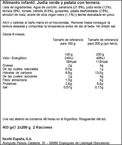 Nestlé Selección Tarrito de puré de verduras y carne ...