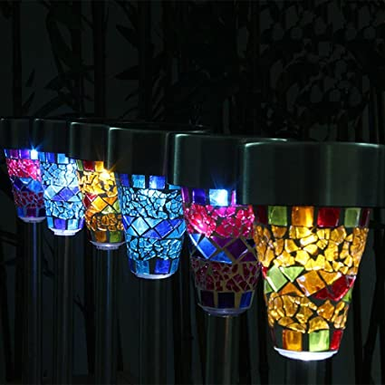 Edis New Mosaic Border Garden Post Lights Garden Decoration Solar Powered  LED Lamp Sun Power Smart
