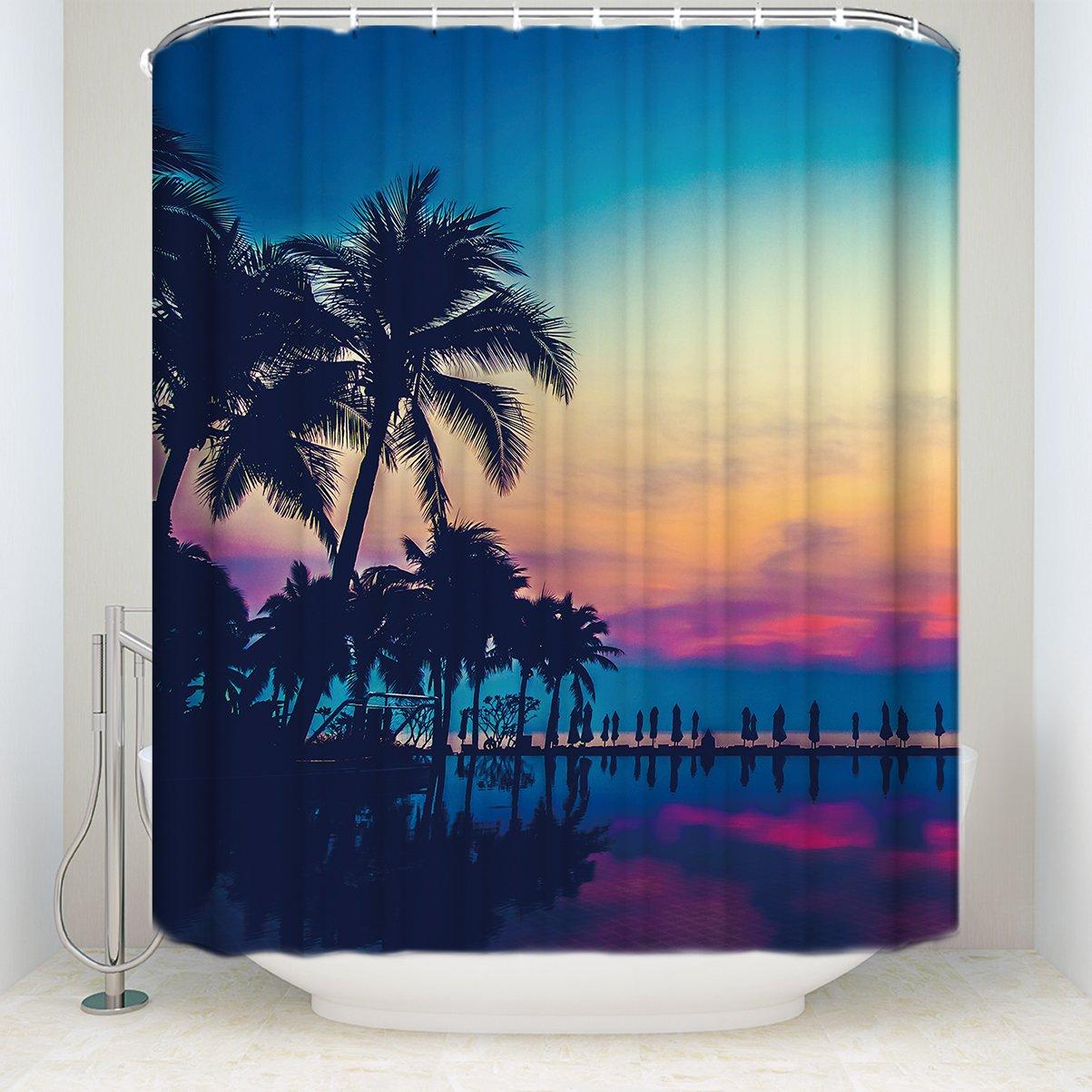 Beauty Decor Tropical Beach Palm Trees Seawater Blue Waterproof Polyester Fabric Shower Curtain Bathroom Decor