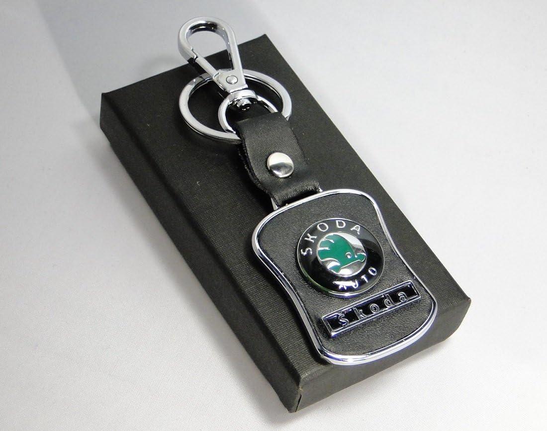 Jmtrading Porte-cl/és Skoda en m/étal et cuir pour Octavia Superb Fabia