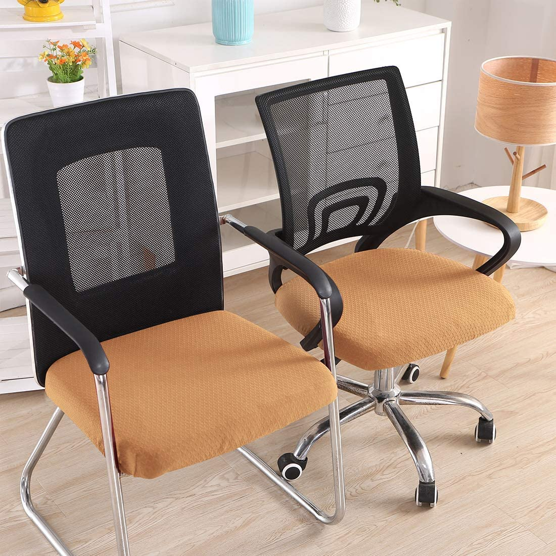 Camel Set of 2 Jacquard Desk Chair Seat Cushion Protectors Chair Slipcovers smiry Stretch Chair Seat Covers for Office Computer Chair