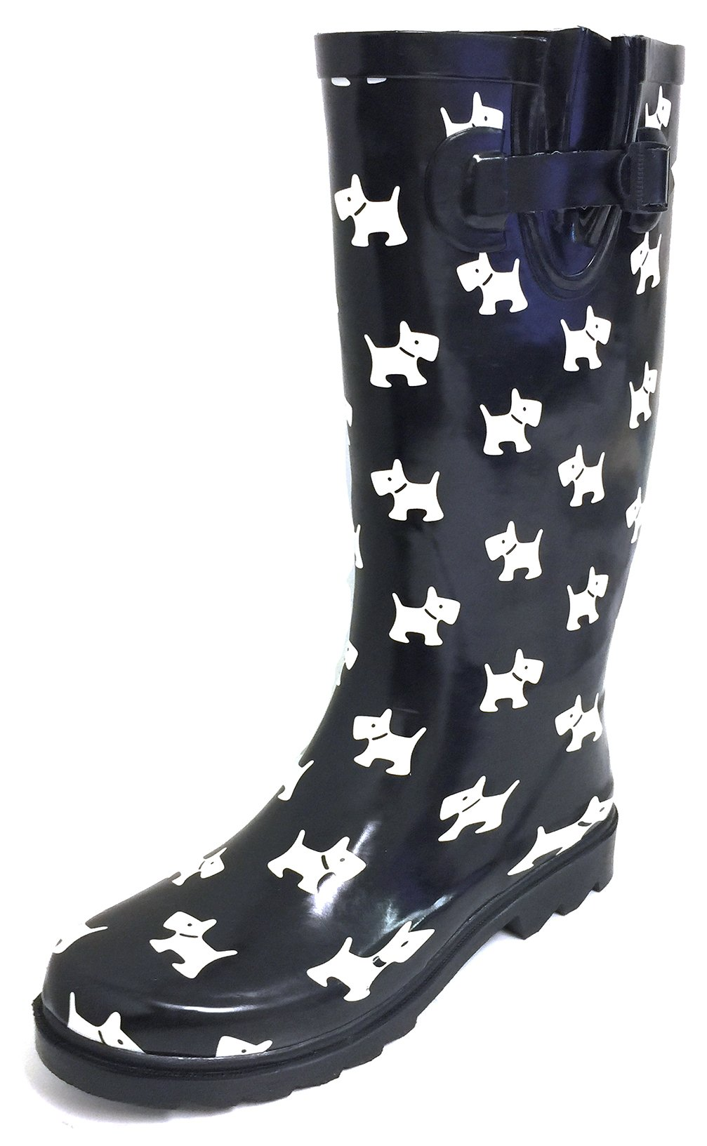 G4U Women's Rain Boots Multiple Styles Color Mid Calf Wellies Buckle Fashion Rubber Knee High Snow Shoes (8 B(M) US, Black/White Puppies)