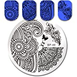 Born Pretty Nail Art Stamping Template Image Plate Arabesque Patterns & Peony BP48