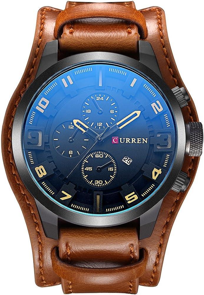 Curren - Reloj de pulsera analógico digital de cuarzo para hombre con pulsera de cuero