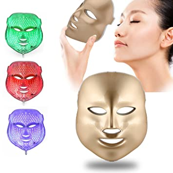 Weijin 3 Color llevó máscara de Oro Terapia de luz LED Tratamiento Facial Belleza Piel Cuidado