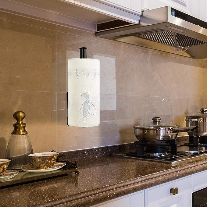 Adhesivo Portarrollos de Cocina Soporte para Papel de Cocina Dispensador Soporte para Papel, Aluminio, Sin Perforar, 28cm: Amazon.es: Hogar
