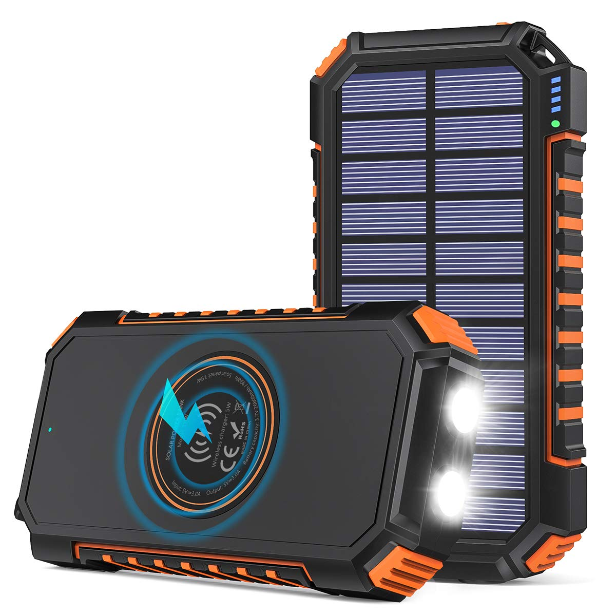 Solar Charger 26800mAh Riapow Solar Power Bank 4 Outputs USB C Quick