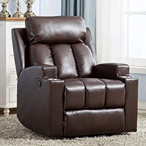 ANJ Chair Recliner Contemporary Theater Recliner with 2 Cup Holders Chocolate