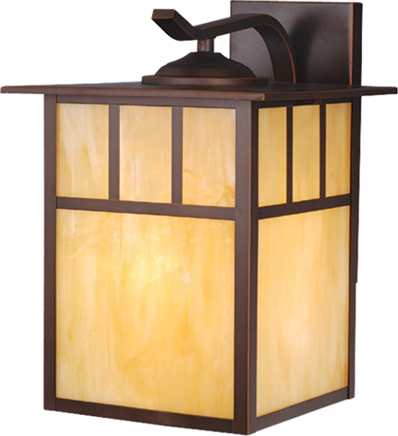 """VAXCEL Indoor Outdoor Wall Light - Mission Oil Burnished Bronze Craftsman 9"""" Front Porch Light with Honey Opal Glass, Wall Mount Garage Coach Light, Front Porch Lantern, Outdoor Carriage Light"""