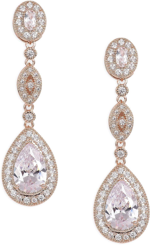 SWEETV Cubic Zirconia Teardrop Wedding Bridal Earrings for Women,Bridesmaids,Brides - Crystal Rhinestones Dangle Earrings Jewelry