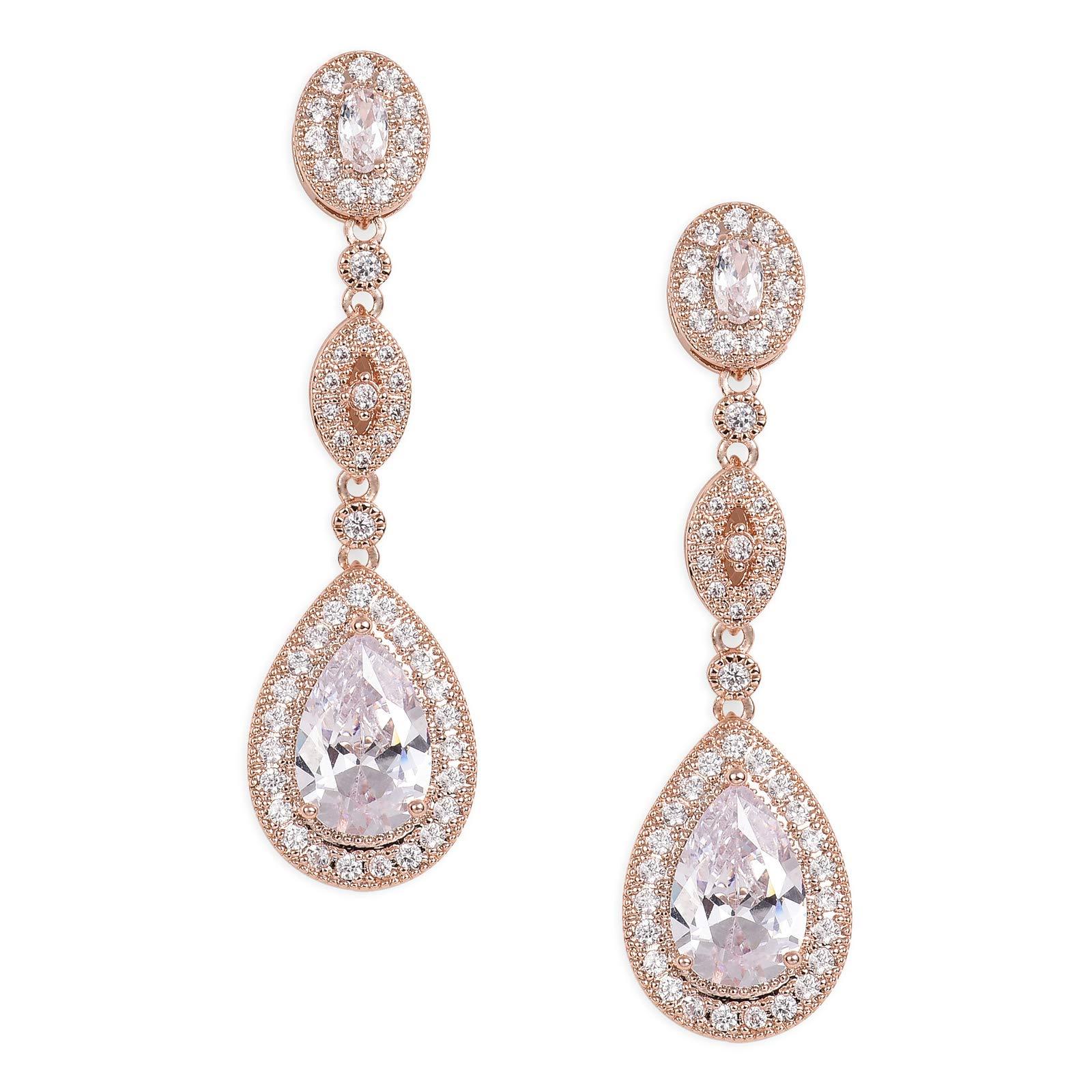 SWEETV Cubic Zirconia Teardrop Wedding Bridal Earrings for Women,Bridesmaids,Brides - Rose Gold Crystal Rhinestones Dangling Earrings Jewelry by SWEETV