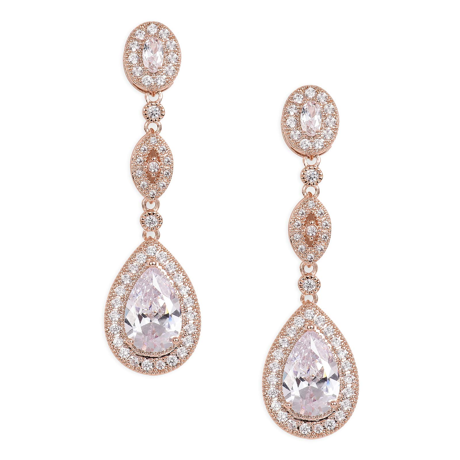 SWEETV Cubic Zirconia Teardrop Wedding Bridal Earrings for Women,Bridesmaids,Brides - Rose Gold Crystal Rhinestones Dangling Earrings Jewelry
