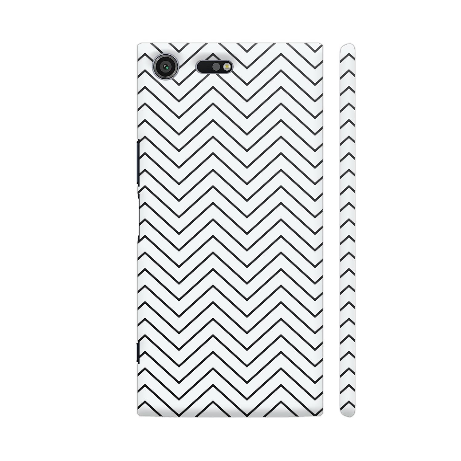 Colorpur Gray Zigzag Lines On White Printed Back Case