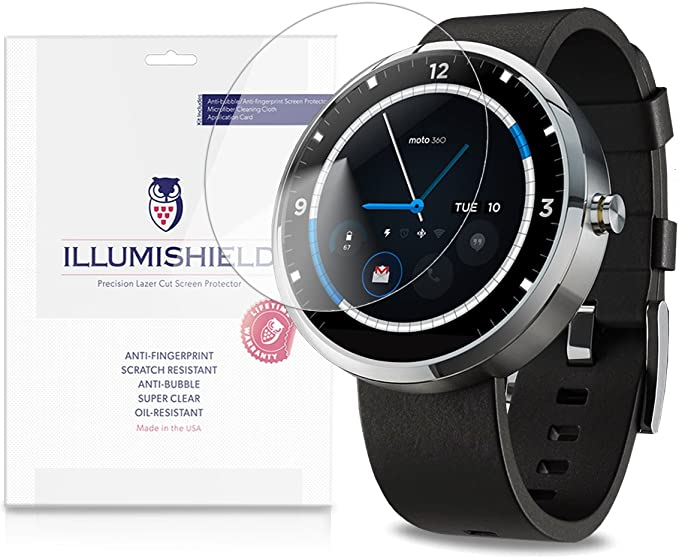 iLLumiShield Screen Protector Compatible with Motorola Moto 360 Android Smartwatch (3-Pack) Clear HD Shield Anti-Bubble and Anti-Fingerprint PET Film