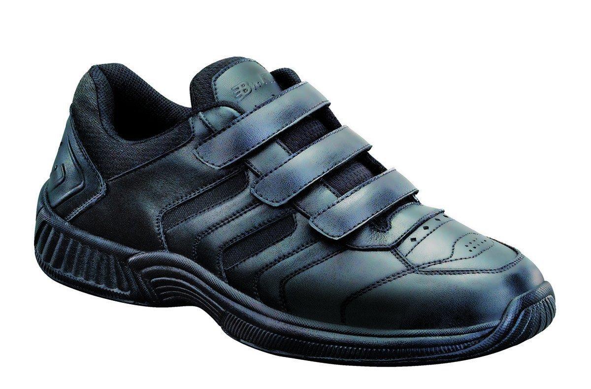 Orthofeet Most Comfortable Diabetic Orthopedic Arthritis Ventura Mens Velcro Athletic Shoes 13 W US Men|Black